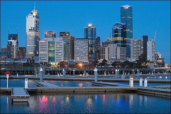 Melbourne docklands at twilight.