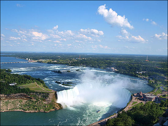 The Horseshoe Falls in Niagara Falls, Ontario, is one of the world's most voluminous waterfalls.