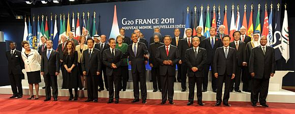 Prime Minister Dr Manmohan Singh in a group photo with the G-20 leaders, in Cannes.