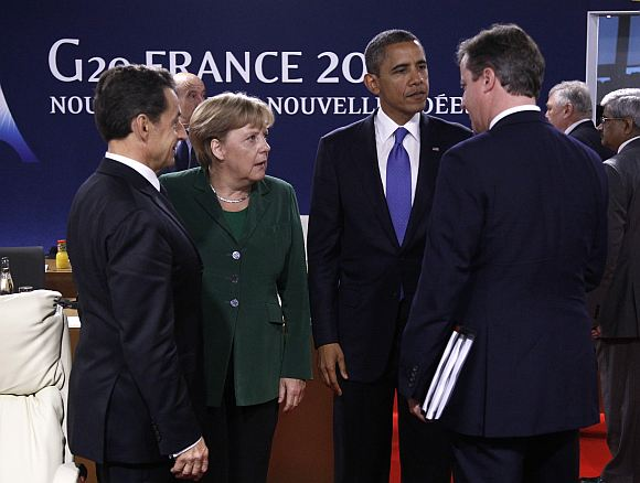 France's President Nicolas Sarkozy, Germany's Chancellor Angela Merkel, US President Barack Obama and Britain's Prime Minister David Cameron (L to R) at the G20 Summit.