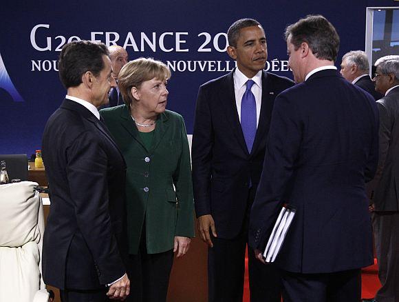 France's President Nicolas Sarkozy, Germany's Chancellor Angela Merkel, US President Barack Obama and Britain's Prime Minister David Cameron (L to R) at the G20 Summit.