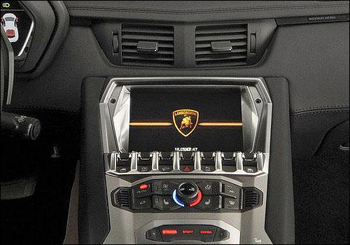 Lamborghini Aventador front AC controls.