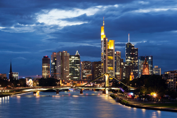Frankfurt skyline at night.