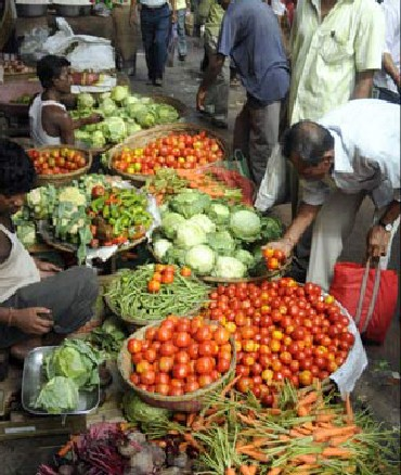A vegetable market.