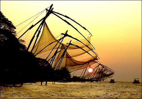 The Chinese fishing nets at Fort Kochi are an icon of the city.
