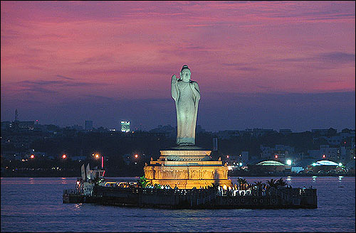 Hussain Sagar Lake in the evening.
