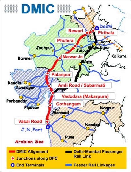 Delhi Mumbai Industrial Corridor map.