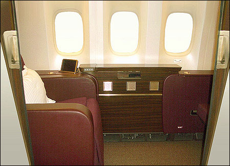 First Class on board the Boeing 777-300ER.