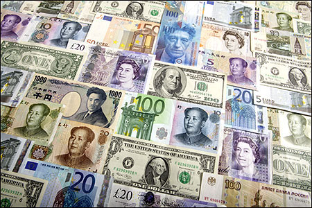 Arrangement of various world currencies.