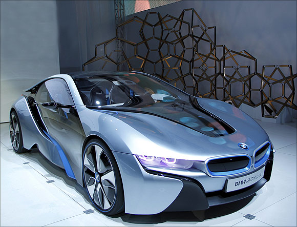 BMW i8 hybrid-electric concept vehicle.