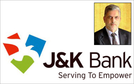 J&K Bank logo; Inset: Mushtaq Ahmed, bank's chairman & CEO.