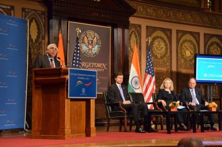 From left, India's Education Minister Kapil Sibal; Assistant Secretary for South and Central Asian Affairs Robert O Blake; Secretary of State Hillary Clinton; and Georgetown University President John J DeGioia at the US-India Higher Education Summit in October. (Courtesy: Facebook.com/IndembassyUSA
