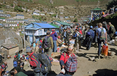 Market day at Namche Bazar in Khumbu, Nepal.