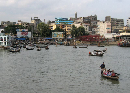 Sadarghat port in Dhaka, Bangladesh.