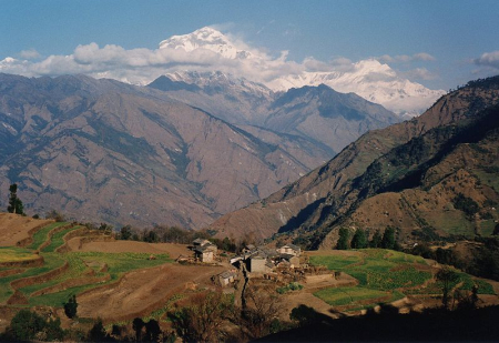 View of Dhaulagiri mountain from Ghorepani, Nepal.
