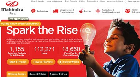 The Mahindra Rise campaign on its website.