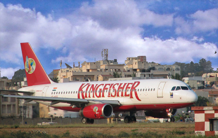 A Kingfisher Airlines plane taxing at Bangalore Airport.