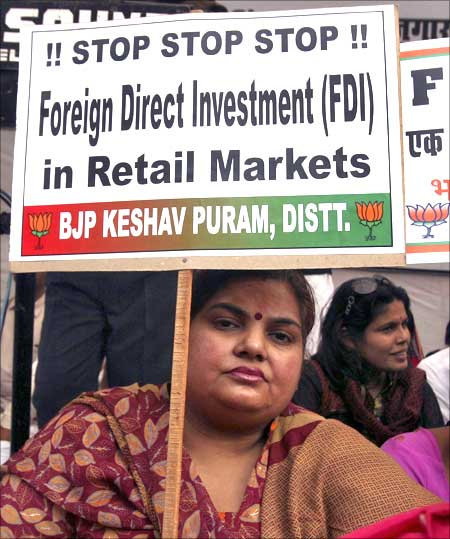 A protest against FDI in retail organised by the BJP