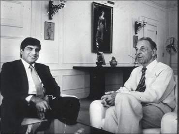 J R D Tata with Ratan Tata.