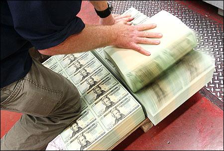Freshly made twenty dollar bills at the Bureau of Engraving and Printing.