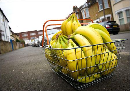 Fairtrade bananas are diaplyed.