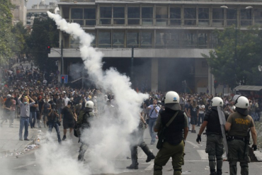 Protestors clash with police in Athens, Greece.