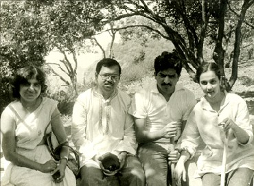 (Left to right) Sudha Murthy, N R Narayana Murthy, Nandan Nilekani and Rohini Nilekani.