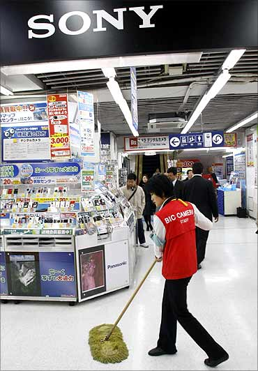 A Sony Corp signboard is displayed at an electronics shop in Tokyo.
