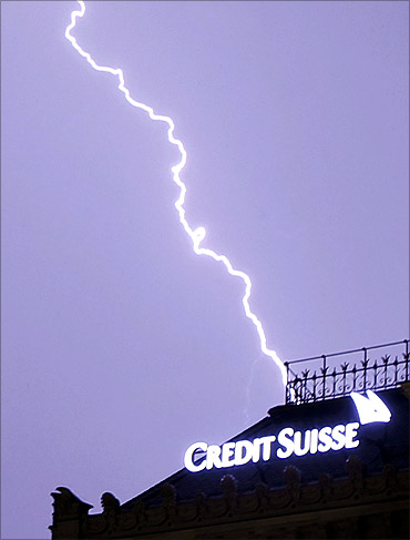 Lightning strikes over the headquarters of Swiss bank Credit Suisse d in Zurich.