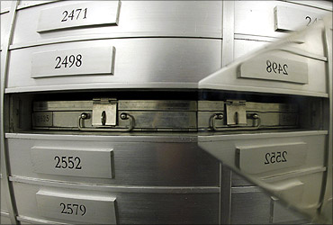 A safe box is pictured at the safe room of the Zuercher Kantonalbank (ZKB) at the Bahnhofstrasse in Zurich.