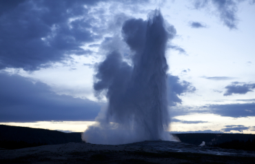 Old Faithful Geyser erupts in Yellowstone National Park, Wyoming.