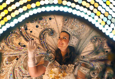 Queen of Endymion waves before Mardi Gras Day in New Orleans, Louisiana.