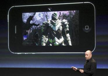 Mike Capps, president of Epic Games, speaks about games on the iPhone at Apple headquarters.