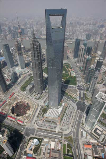 The Shanghai World Financial Centre in Pudong District of Shanghai.