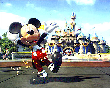 The new game Kinect Disneyland Adventures is shown on screen at the Microsoft E3 XBOX 360.