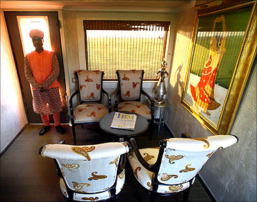 The lobby of luxury train, Royal Rajasthan on Wheels.