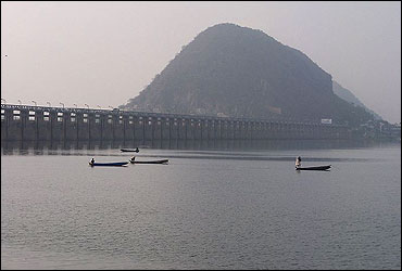Prakasam Barrage view from Padmavati ghat.