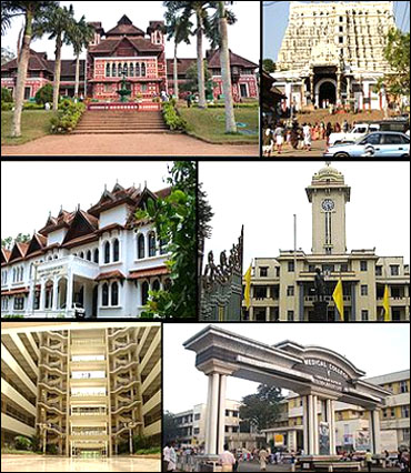 From top clockwise: Napier Museum, Padmanabhaswamy Temple, University of Kerala, Government Medical College, Kerala Institute of Medical Sciences, Bhavani building in Technopark.