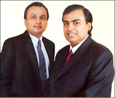 Anil and Mukesh Ambani (R).