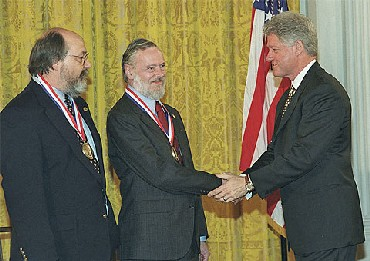 In 1999, Thompson and Ritchie received the National Medal of Technology from then President Clinton
