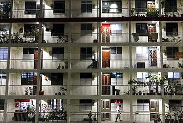 An old public housing estate flat in Singapore.