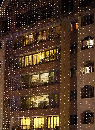 Decorative lights illuminate the facade of La Mer.