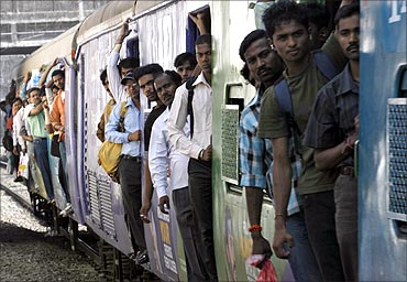 A crowded local train in Mumbai.