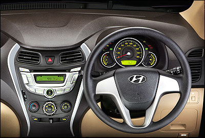 Steering wheel and dashboard.