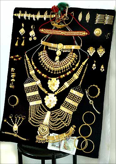 A display of golden jewellery.