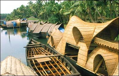 A traditional house boat in Kerala.