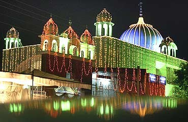 An illuminated Gurdwara, or Sikh temple, in Chandigarh