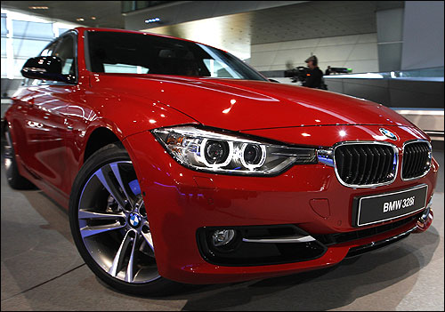 The new BMW 328i is pictured during the world premiere of the company's new 3 series in Munich.