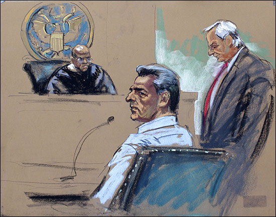 Rajat Gupta is seen in this courtroom sketch during his appearance in Manhattan Federal Court in New York.