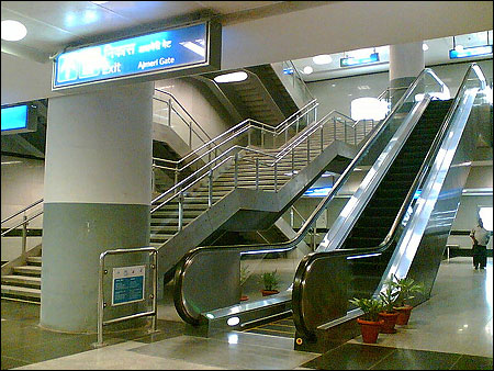 Inside a Metro Station.
